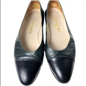 Chanel Lambskin Cap Toe Ballet Flats